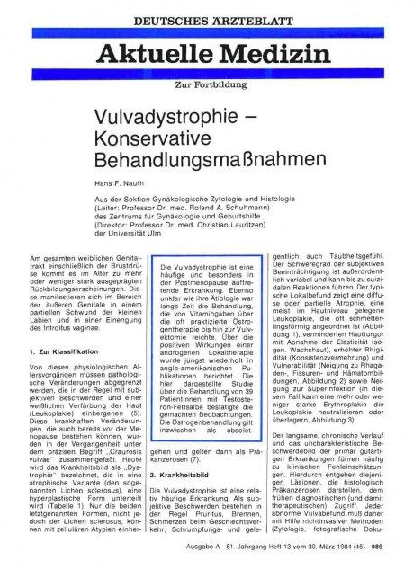 Vulvadystrophie — Konservative Behandlungsmaßnahmen