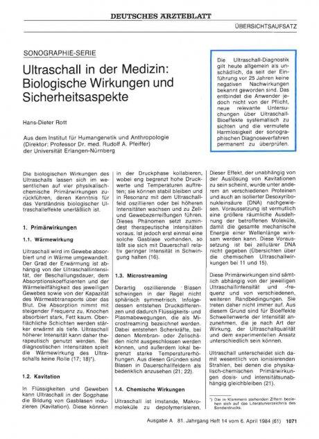 Ultraschall in der Medizin: Biologische Wirkungen und Sicherheitsaspekte