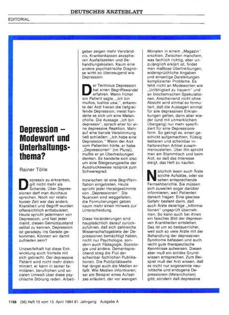 Depression — Modewort und Unterhaltungsthema?