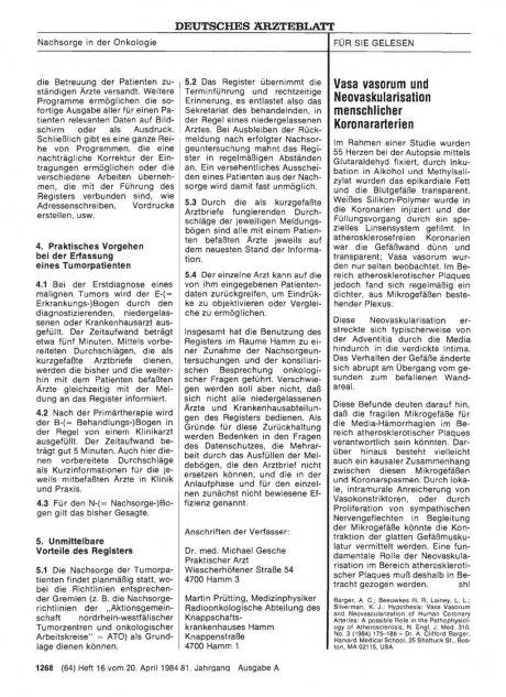 Vasa vasorum und Neovaskularisation menschlicher Koronararterien