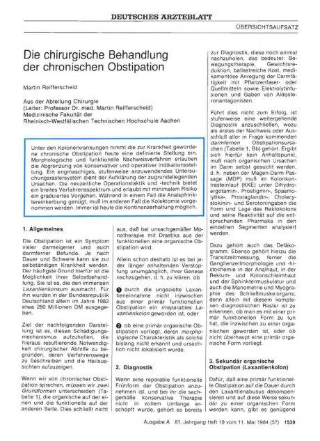 Die chirurgische Behandlung der chronischen Obstipation