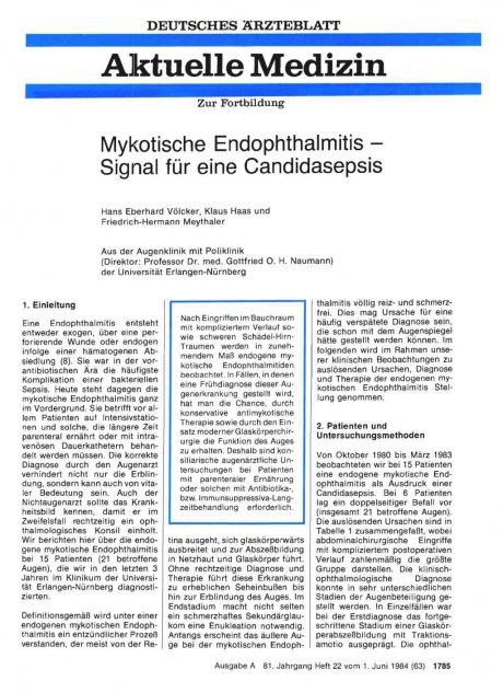 Mykotische Endophthalmitis — Signal für eine Candidasepsis