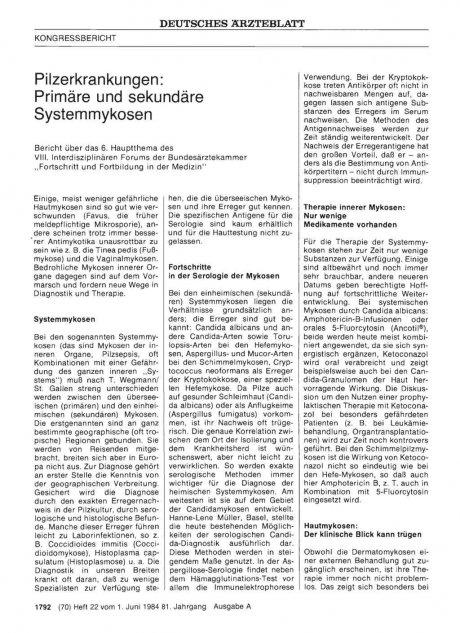 Pilzerkrankungen: Primäre und sekundäre Systemmykosen