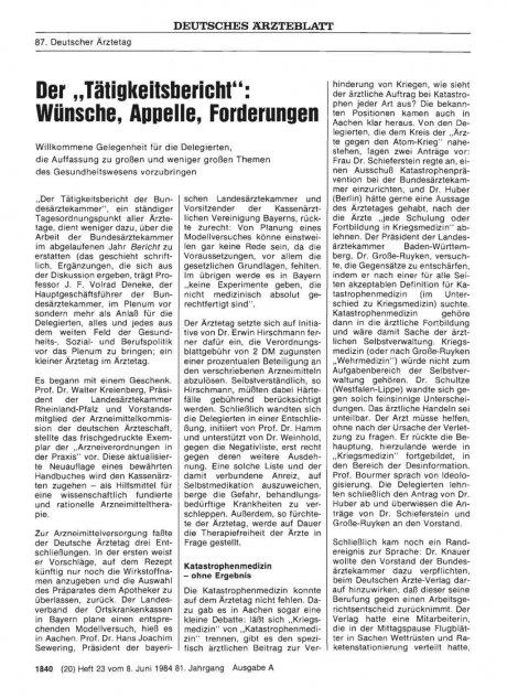 """Der """"Tätigkeitsbericht"""": Wünsche, Appelle, Forderungen"""