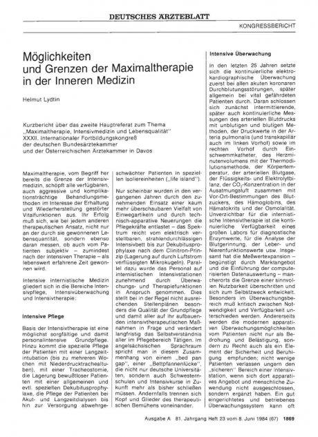 Möglichkeiten und Grenzen der Maximaltherapie in der Inneren Medizin