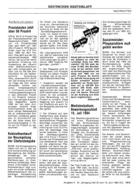 Kabinettsentwurf zur Neuregelung der Chefarztabgabe