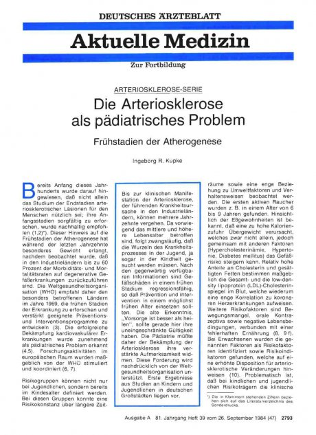 ARTERIOSKLEROSE-SERIE: Die Arteriosklerose als pädiatrisches Problem - Frühstadien der Atherogenese