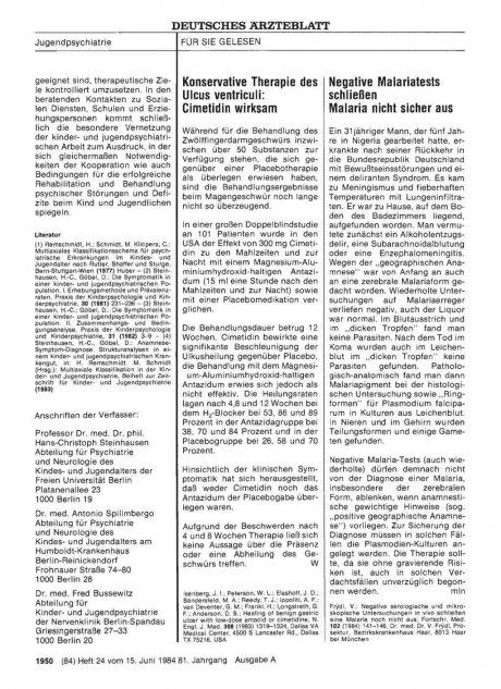 Konservative Therapie des Ulcus ventriculi: Cimetidin wirksam