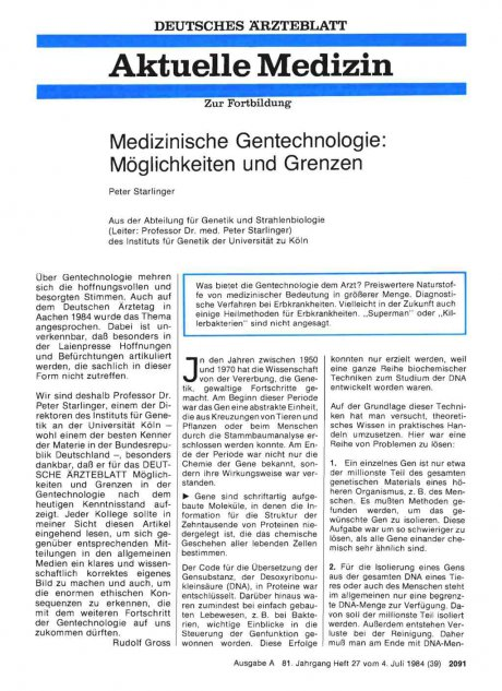 Medizinische Gentechnologie: Möglichkeiten und Grenzen