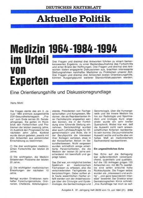 Medizin 1964-1984-1994 im Urteil von Experten: Eine Orientierungshilfe und Diskussionsgrundlage