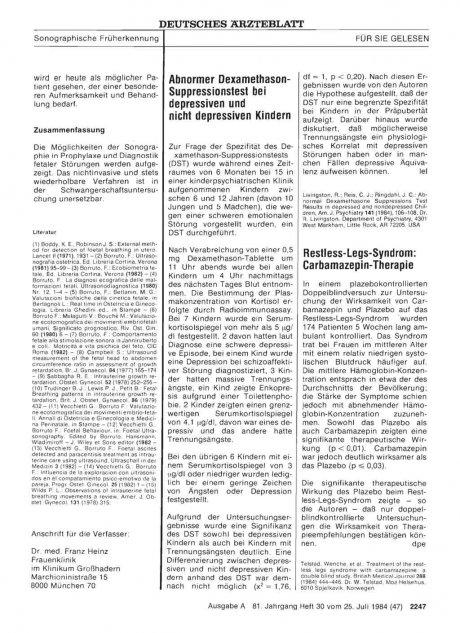 Restless-Legs-Syndrom: Carbamazepin-Therapie