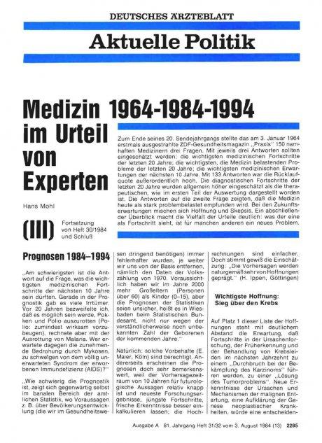 Medizin 1964-1984-1994 im Urteil von Experten (III)