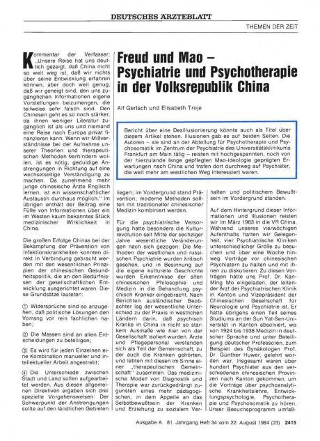 Freud und Mao — Psychiatrie und Psychotherapie in der Volksrepublik China
