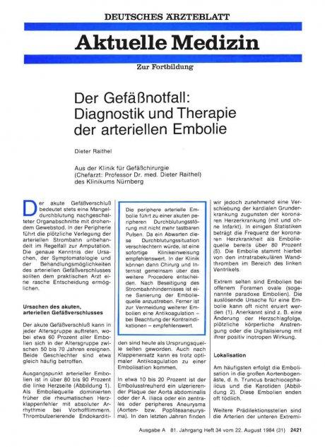 Der Gefäßnotfall: Diagnostik und Therapie der arteriellen Embolie