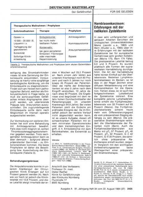 Harnblasenkarzinom: Erfahrungen mit der radikalen Zystektomie