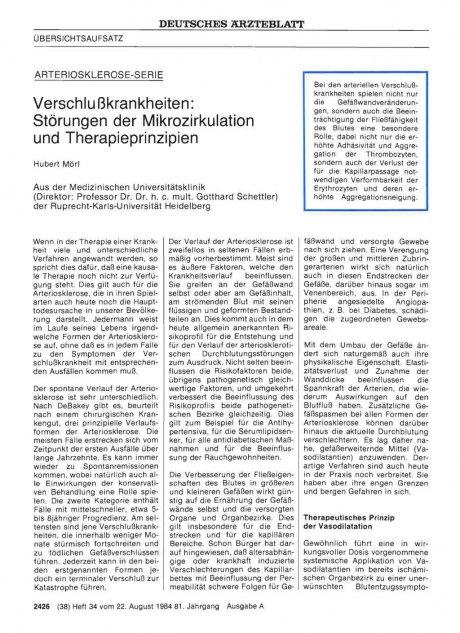 Verschlu ßkrankheiten: Störungen der Mikrozirkulation und Therapieprinzipien