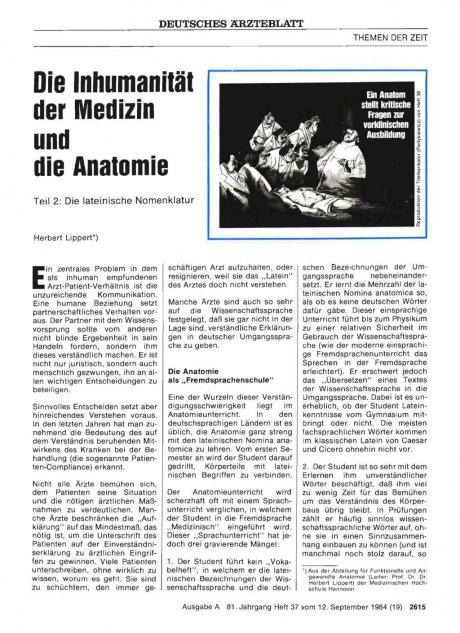 Die Inhumanität der Medizin und die Anatomie