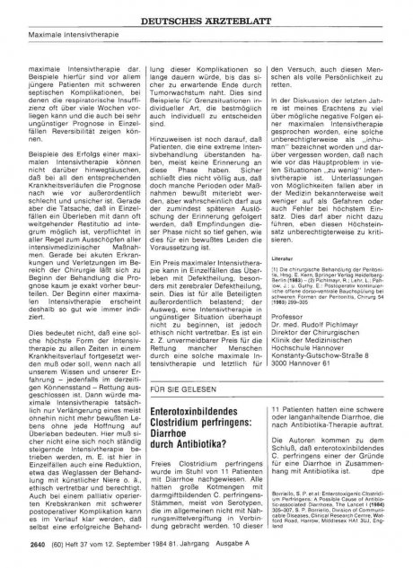 Enterotoxinbildendes Clostridium perfringens: Diarrhoe durch Antibiotika?