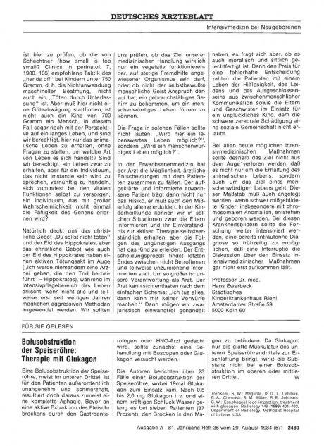 Bolusobstruktion der Speiseröhre: Therapie mit Glukagon