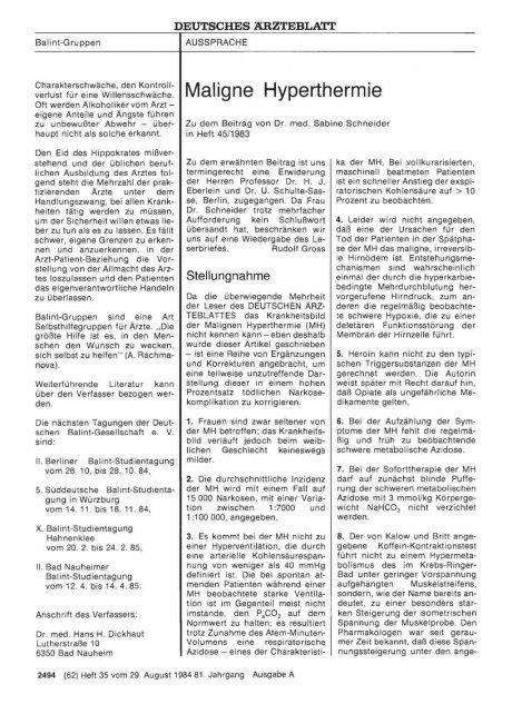 Maligne Hyperthermie: Stellungnahme
