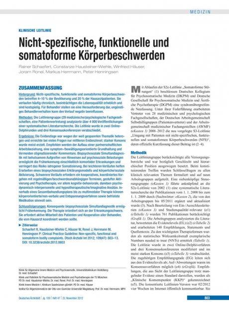 Nicht-spezifische, funktionelle und somatoforme Körperbeschwerden