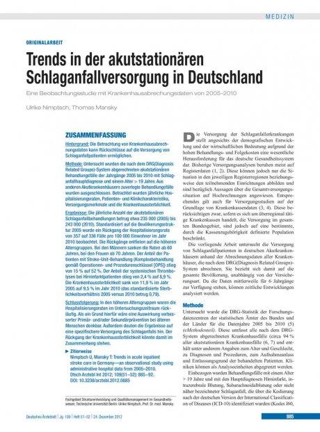 Trends in der akutstationären Schlaganfallversorgung in Deutschland