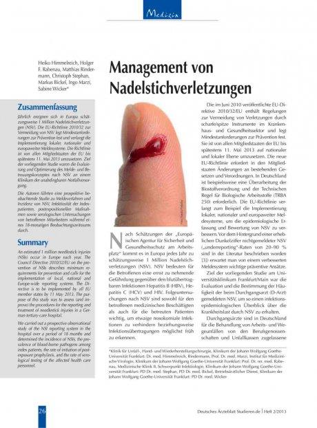 Management von Nadelstichverletzungen