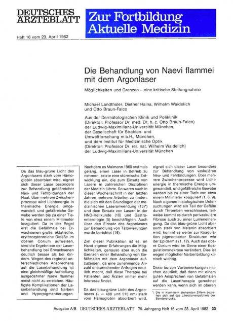 Die Behandlung von Naevi flammei mit dem Argonlaser