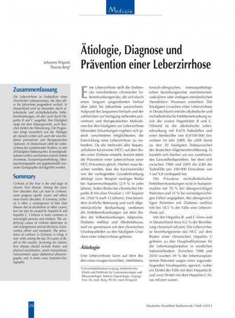 Ätiologie, Diagnose und Prävention einer Leberzirrhose