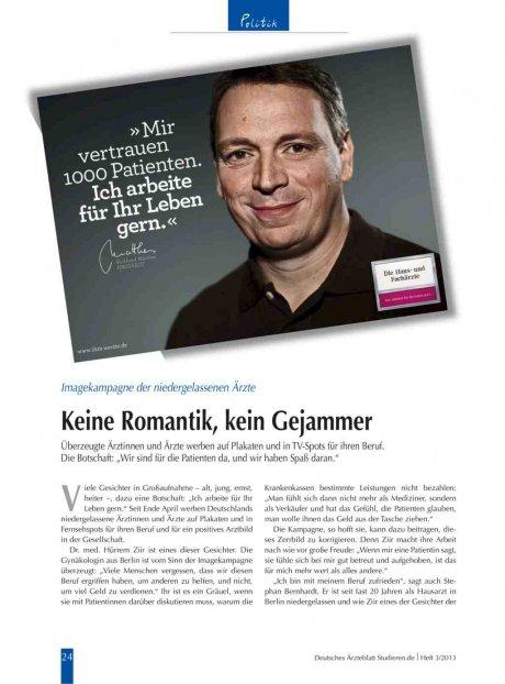 Imagekampagne der niedergelassenen Ärzte: Keine Romantik, kein Gejammer