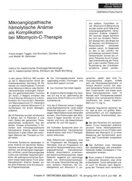 Mikroangiopathische hämolytische Anämie als Komplikation bei Mitomycin-C-Therapie