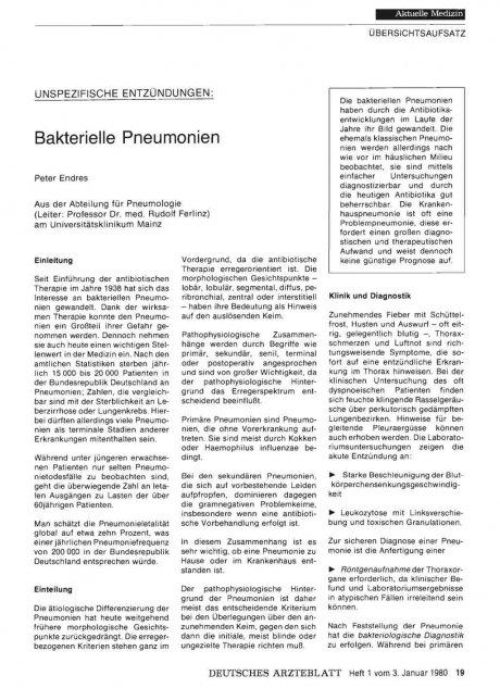 Unspezifische Entzündungen: Bakterielle Pneumonien