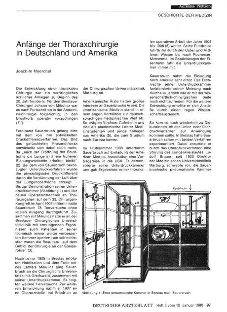 Anfänge der Thoraxchirurgie in Deutschland und Amerika