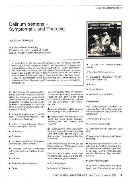 Delirium tremens — Symptomatik und Therapie