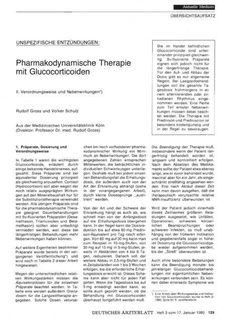 Unspezifische Entzündungen: Pharmakodynamische Therapie mit Glucocorticoiden