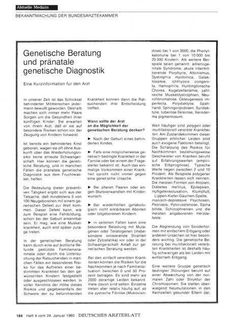 Genetische Beratung und pränatale genetische Diagnostik