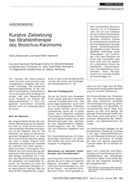 Karzinomserie: Kurative Zielsetzung bei Strahlentherapie des Bronchus-Karzinoms