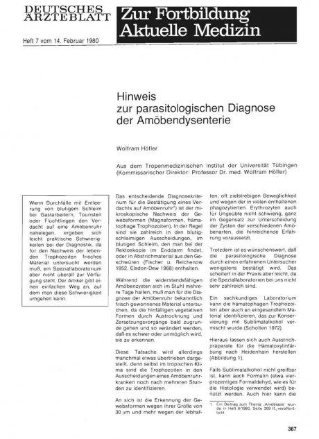 Hinweis zur parasitologischen Diagnose der Amöbendysenterie