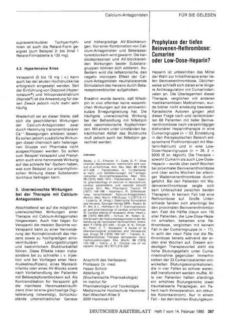 Prophylaxe der tiefen Beinvenen-Rethrombose: Cumarine oder Low-Dose-Heparin?