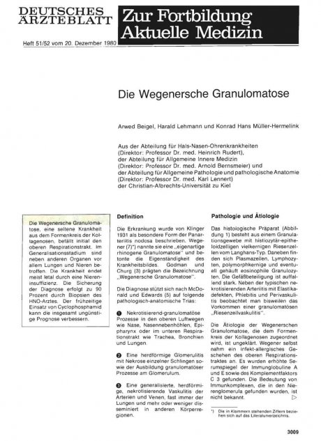 Die Wegenersche Granulomatose