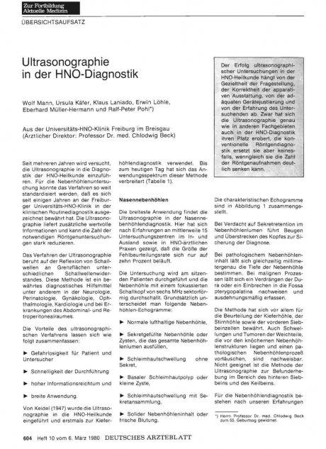 Ultrasonographie in der HNO-Diagnostik