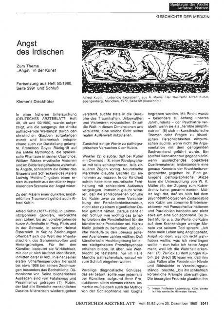 """Angst des Irdischen: Zum Thema """"Angst"""" in der Kunst - Fortsetzung aus Heft 50/1980, Seite 2991 und Schluß"""