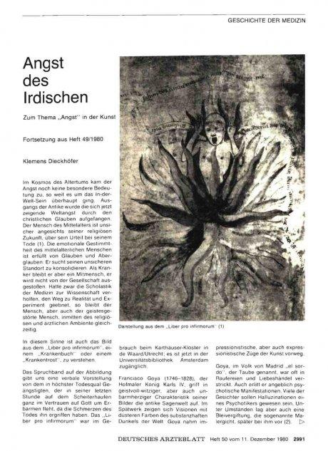 """Angst des Irdischen: Zum Thema """"Angst"""" in der Kunst - Fortsetzung aus Heft 49/1980"""