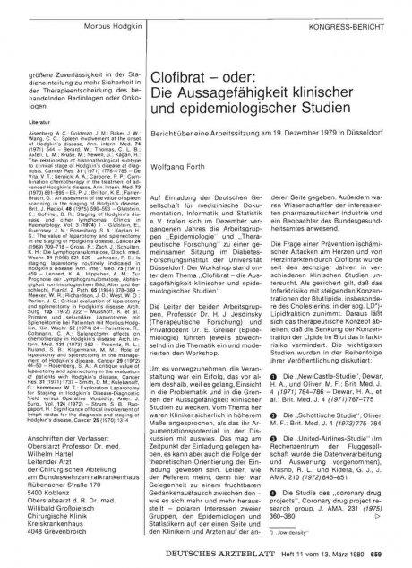 Clofibrat — oder: Die Aussagefähigkeit klinischer und epidemiologischer Studien
