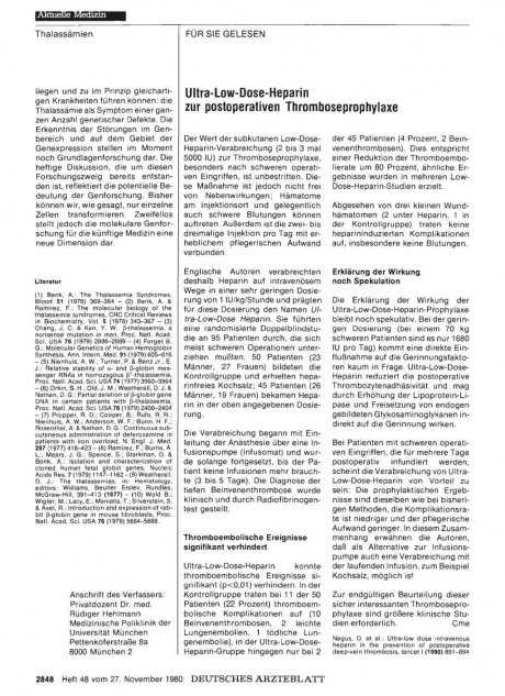 Ultra-Low-Dose-Heparin zur postoperativen Thromboseprophylaxe