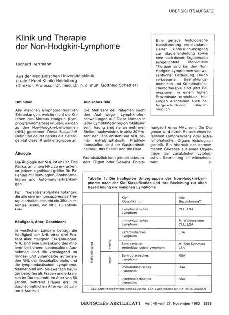 Klinik und Therapie der Non-Hodgkin-Lymphome