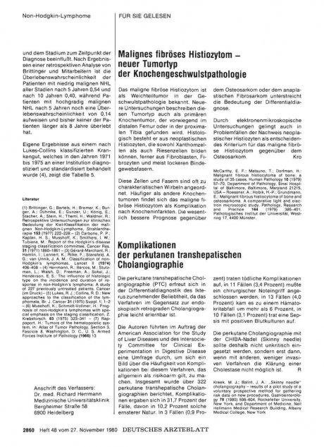Malignes fibröses Histiozytom — neuer Tumortyp der Knochengeschwulstpathologie