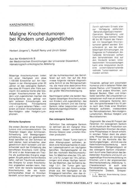 Karzinomserie: Maligne Knochentumoren bei Kindern und Jugendlichen