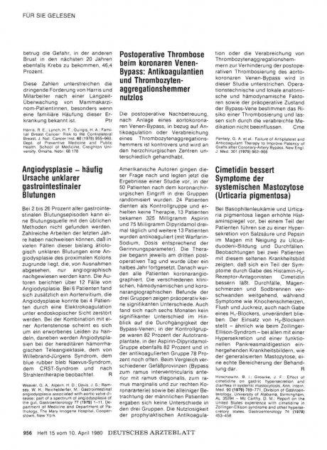 Postoperative Thrombose beim koronaren Venen- Bypass: Antikoagulantien und Thrombozytenaggregationshemmer nutzlos