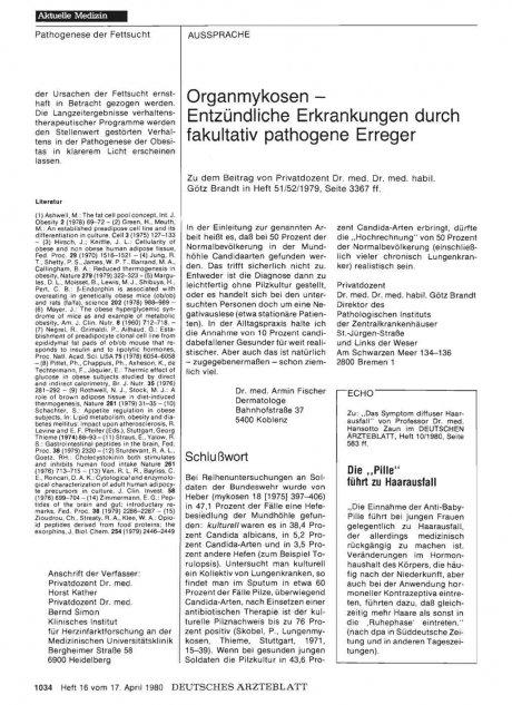 Organmykosen — Entzündliche Erkrankungen durch fakultativ pathogene Erreger